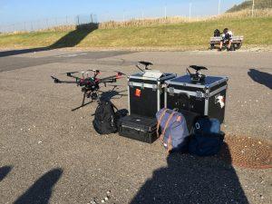 Drone setup med transportkasse